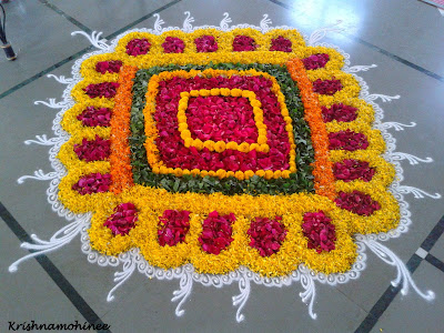 Image: Beautifful  rangolis by flowers of various colors