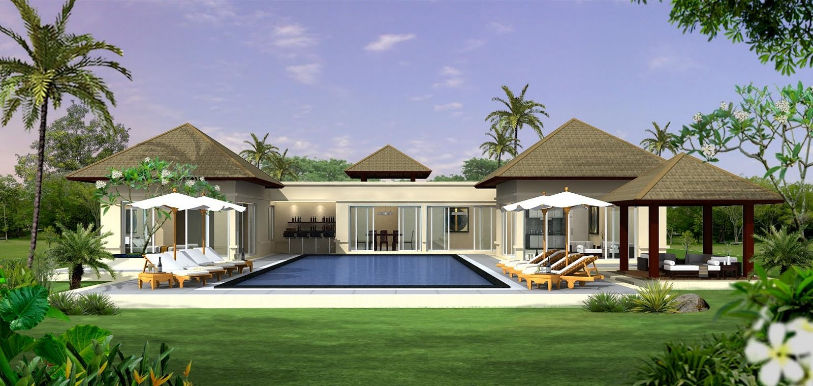10 contoh desain villa tropis jurnal arsitektur for Casa moderna l