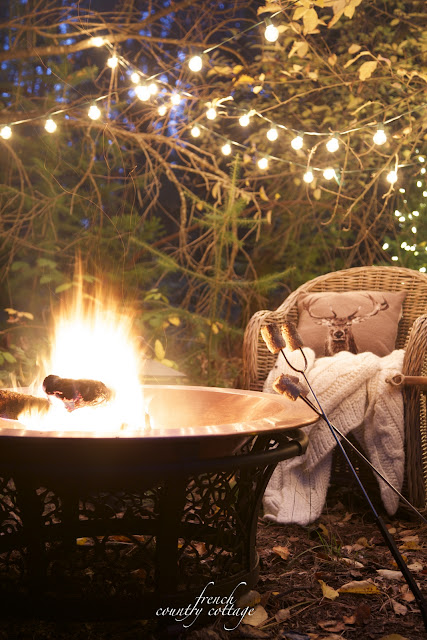 French Country Cottage Christmas Home Holiday Decorating outdoor sitting area