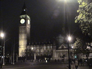 Big Ben at night as seen from north end of Parliament Square, London