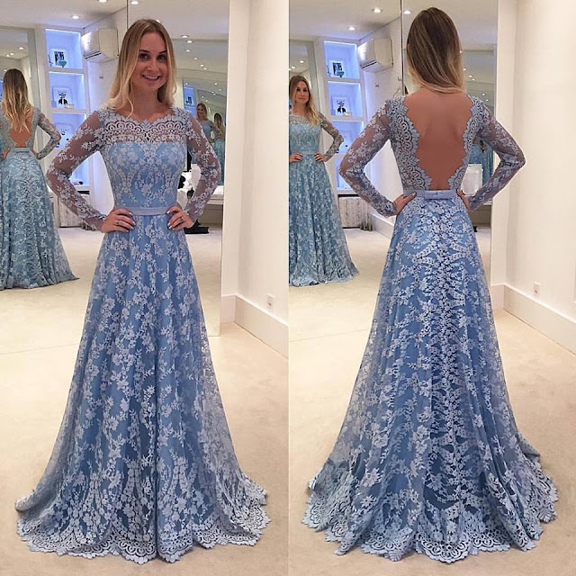 Backless Delicate Lace Sweep-Train Long Long-Sleeve A-line Prom Dress