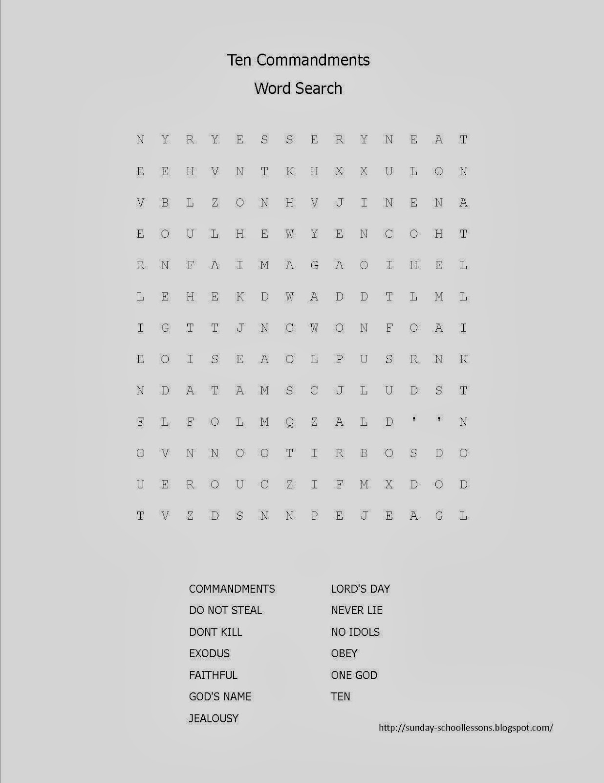 Get the 10 Commandments · Word Search Puzzle