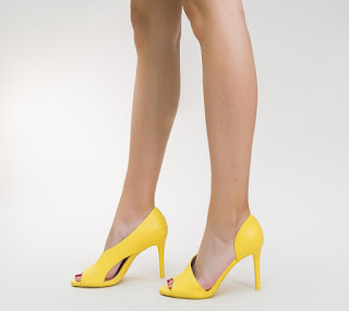 Pantofi Veka Galbeni de ocazii du decupaje cu toc inalt