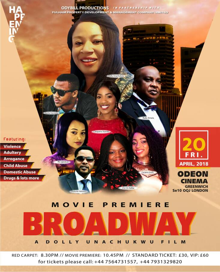 Fri/20/Apr: The London Premiere of Dolly Unachukwu's BROADWAY