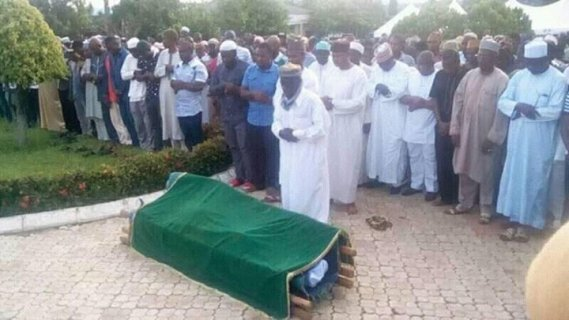 The body of the late ex Nigeria coach Shuaibu Amodu at his burial ceremony