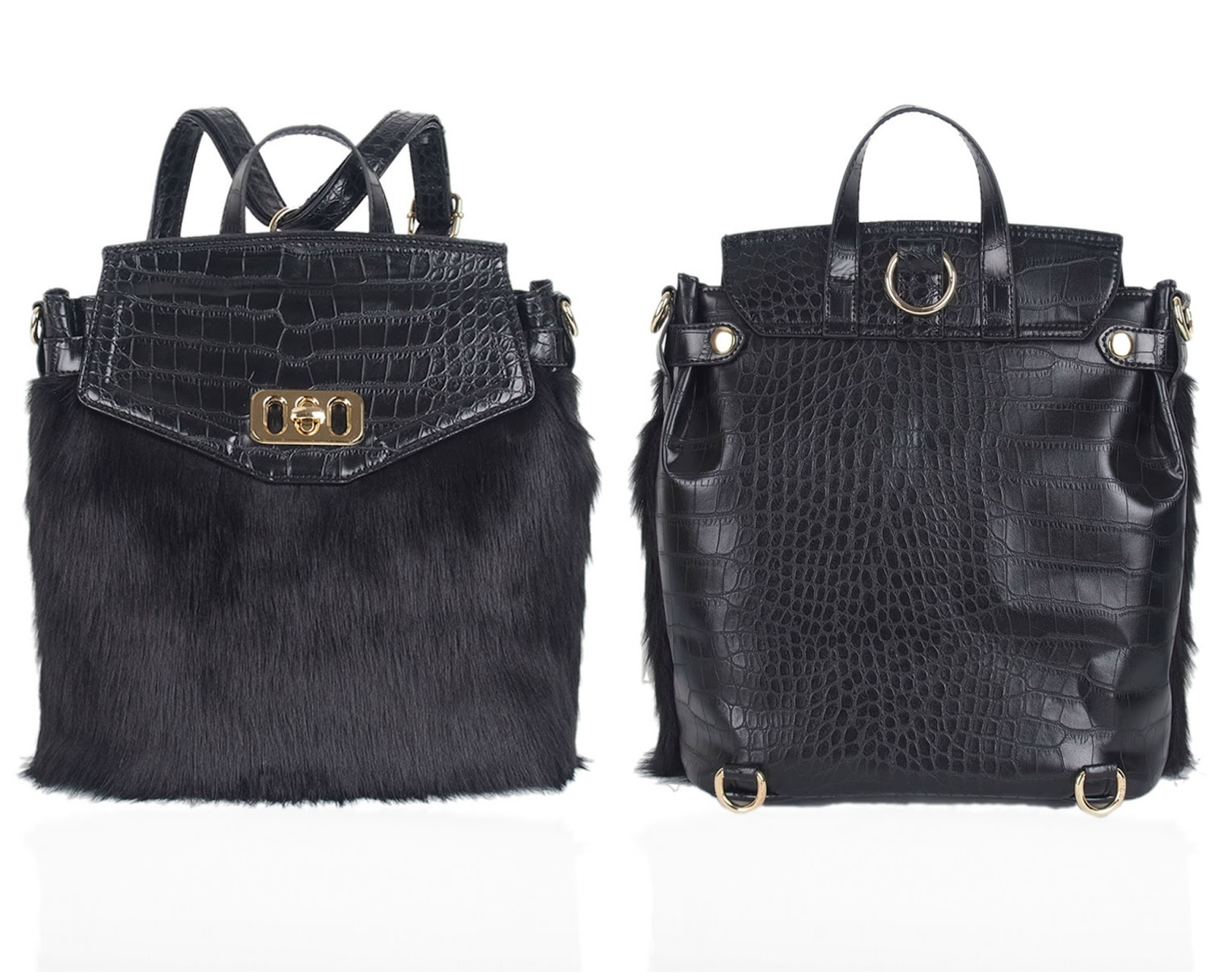 LYDC London Backpack Black Faux Fur - 100 Ways to 30