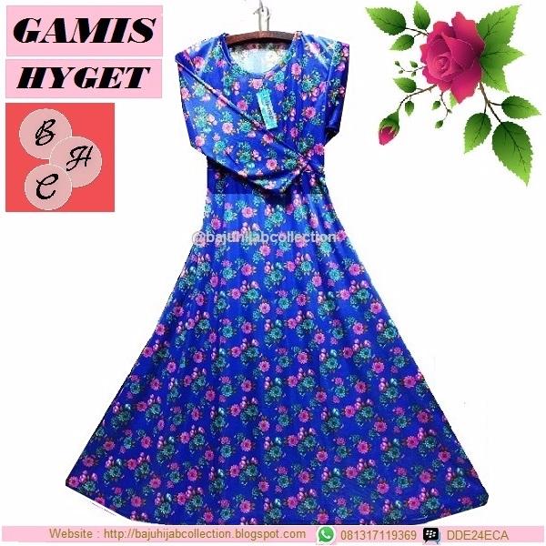 Gamis Hyget Biru Motif Bunga Hijau dan Pink