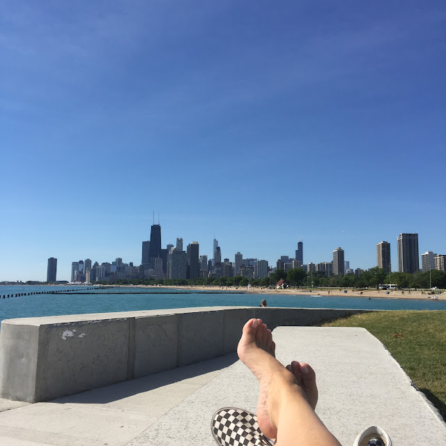 leyla's vans against the chicago skyline