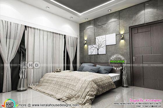 Black and white interior designs in Kerala