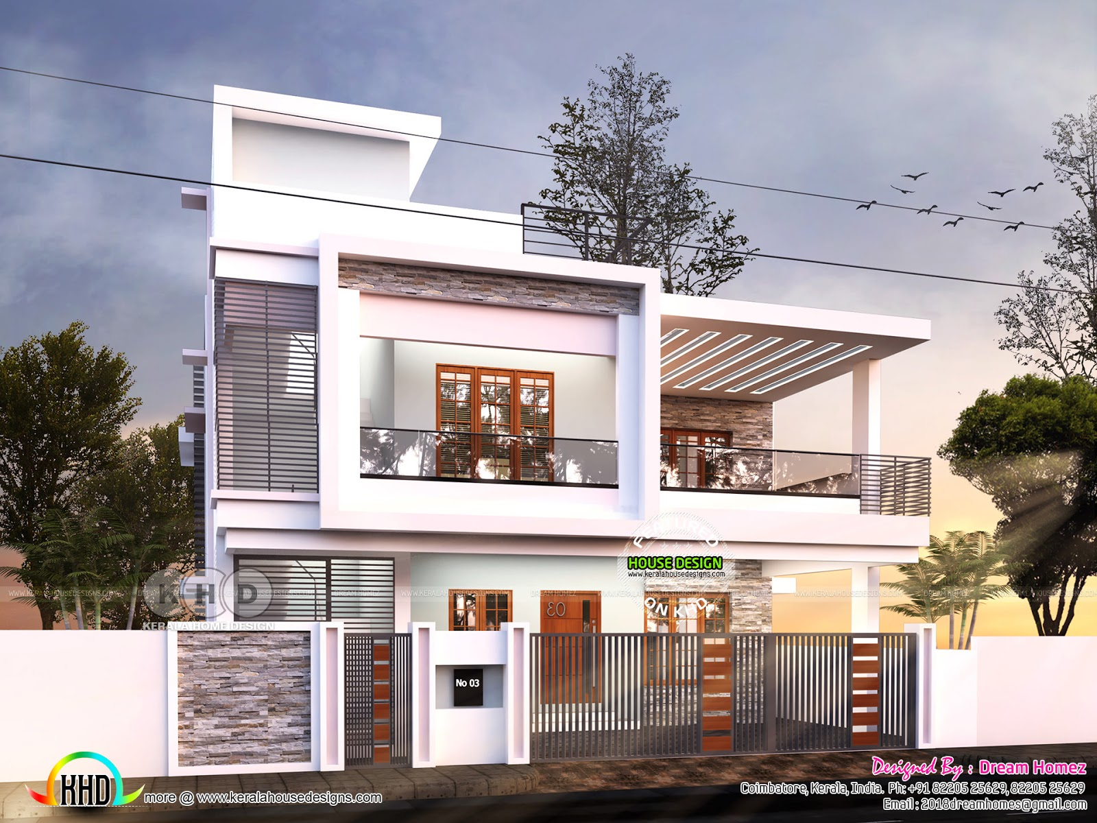 Duplex contemporary house plan kerala home design and for Contemporary duplex house plans