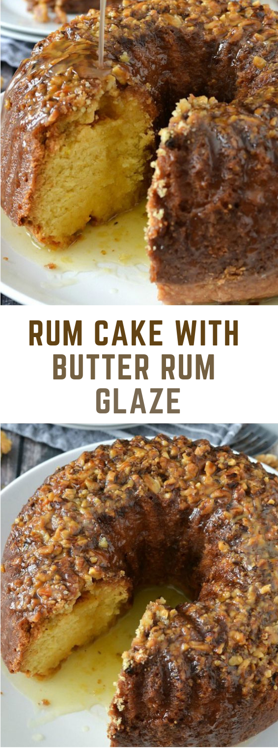 RUM CAKE WITH BUTTER RUM GLAZE #cake #butter