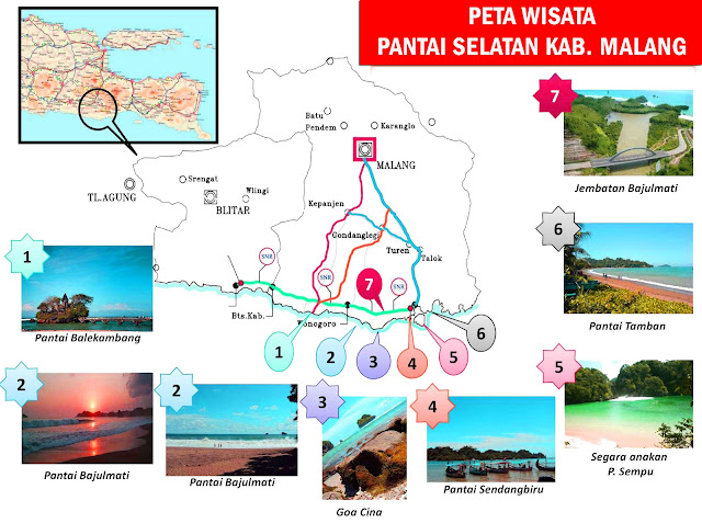 Gambar Peta Wisata Pantai Selatan Malang, Jawa Timur