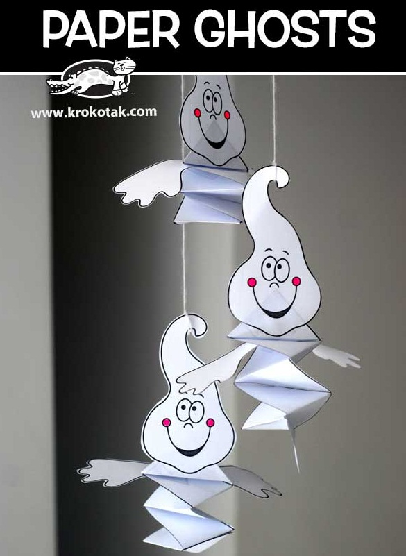 16 cute hanging paper ghost craft ideas for kids. Best Halloween craft ideas for kids to make. Simple and easy Halloween paper craft ghost for kids. Paper craft ideas for 4-5 years old kid. Preschool kids craft ideas for Halloween. DIY Halloween ghost craft for children to make. Halloween night party decoration ideas.