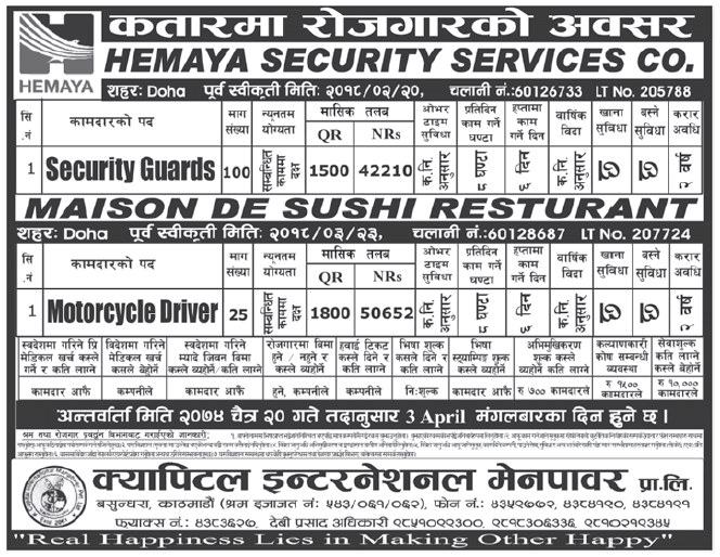 Jobs in Qatar for Nepali, Salary Rs 50,652