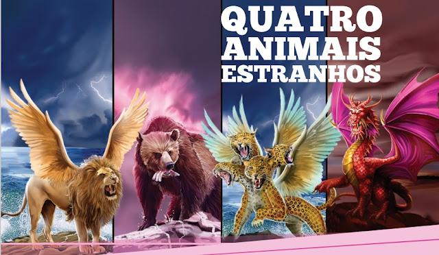 Estátua e os 4 animais na profecia de Daniel