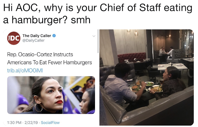 "After far-left Rep. Alexandria Ocasio-Cortez railed hard against ""farting cows"" and beef, she was caught at dinner with a staffer who was eating a juicy hamburger"