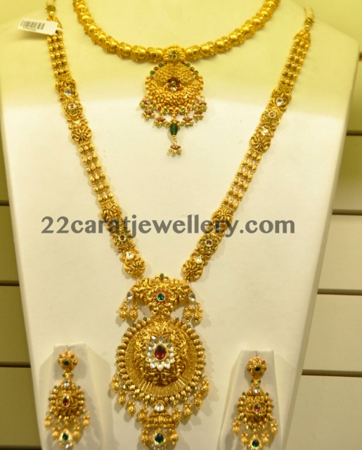 Beautiful South Indian Double Long Necklace Set: Trendy Kundan Gold Haram And Necklace