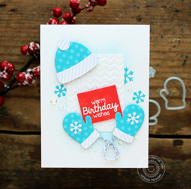 Sunny Studio Stamps: Warm & Cozy Dies Bundled Up Winter Themed Birthday Card by Vanessa Menhorn