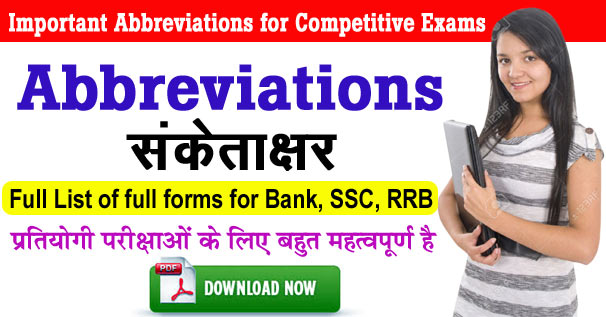 Important A to Z Abbreviations & their Full Form Useful IBPS, SSC, RRB Exams