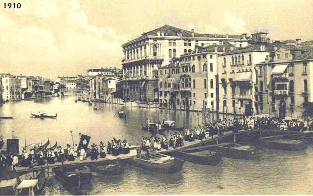 Old photograph of the Ponte Votivo, Festa della Salute, Venice