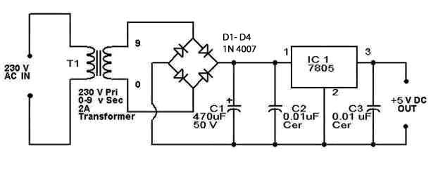 circuit diagram of 7805 ic voltage regulator power supply