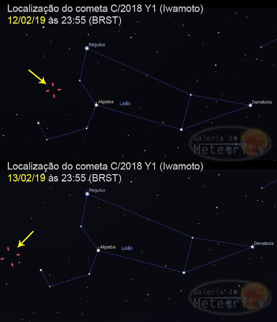Localização do cometa C-2018 Y1 Iwamoto
