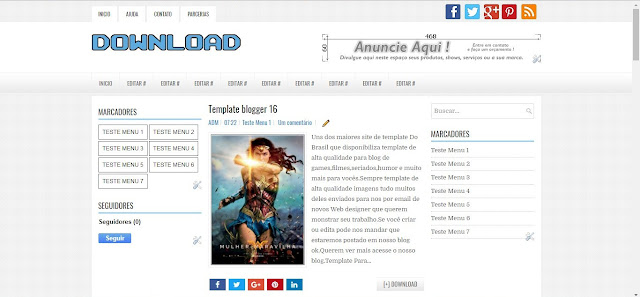 Template Blogger Download Gratis Azul e Branco