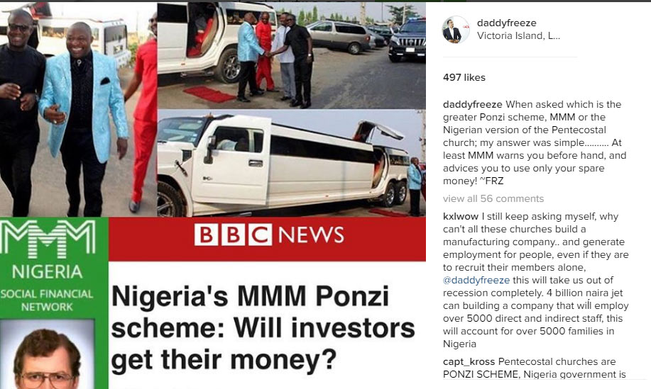 Lol. Freeze compares Nigerian pastor in Hummer limo to Ponzi scheme and MMM