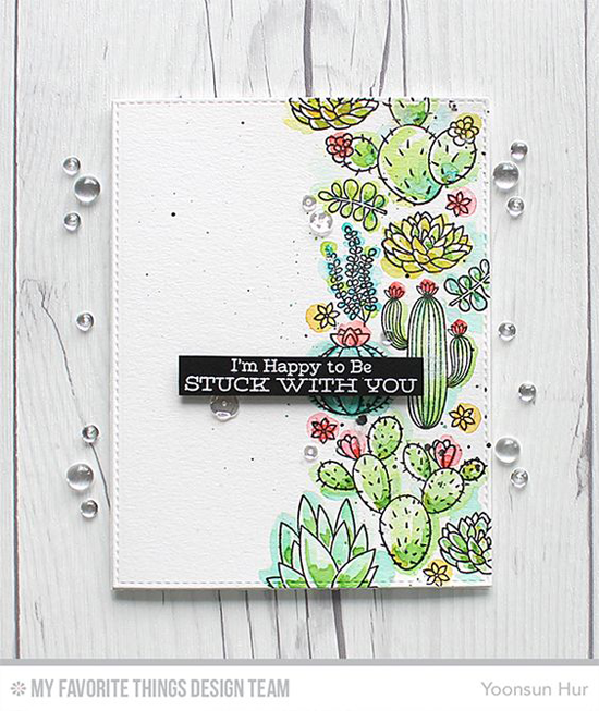 Handmade card from Yoonsun Hur featuring Laina Lamb Design Sweet Succulents stamp set and Blueprints 25 Die-namics #mftstamps