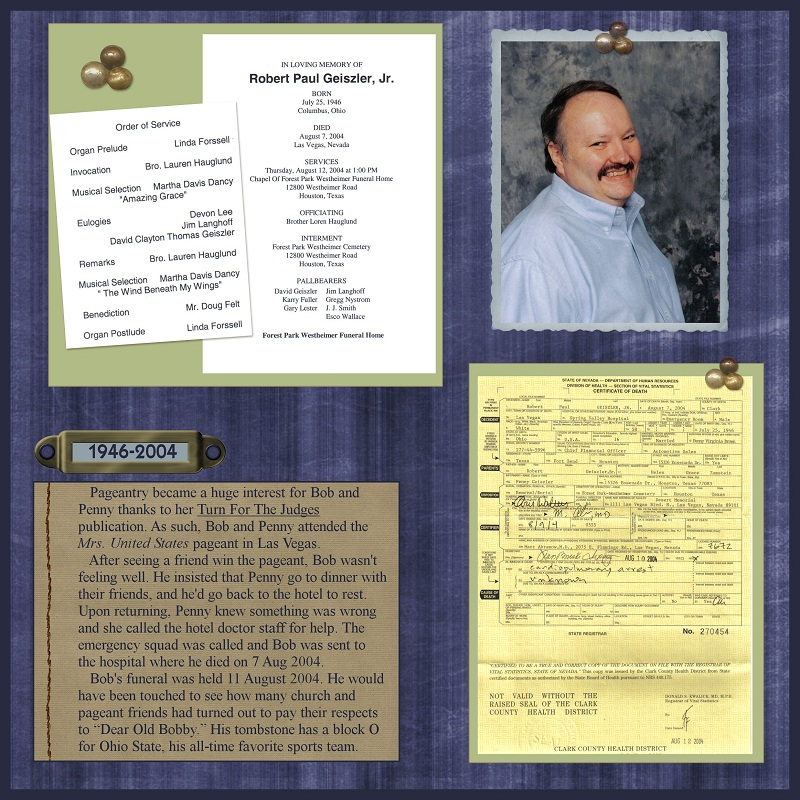 Family History Fanatics: Heritage Scrapbooking: Funeral Pages