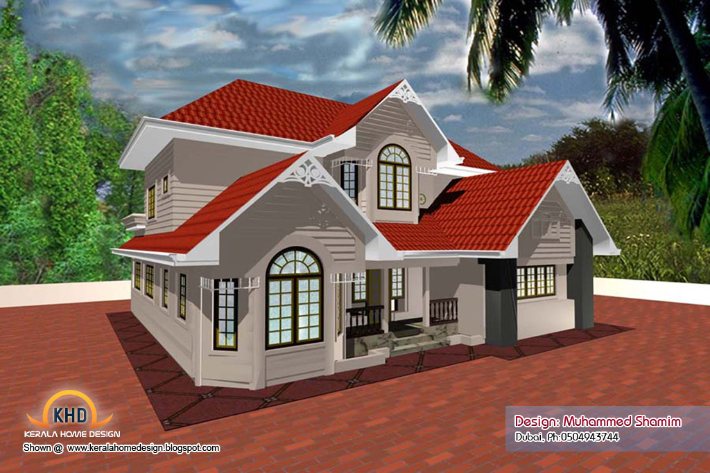 5 beautiful home elevation designs in 3d kerala home for New houses in kerala