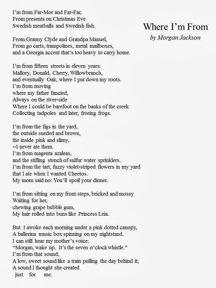 where i am from poem template - where i 39 m from student examples bing images