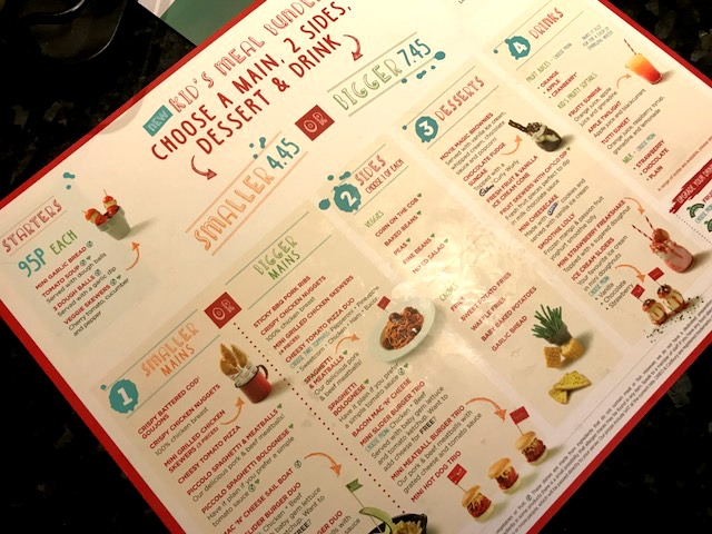 Frankie and bennys kids menu