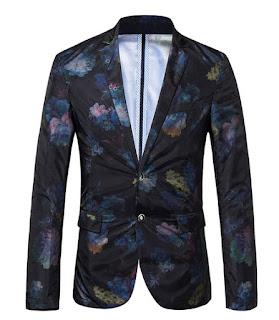 Mystic Floral Dark Polyester Blend Thin Blazer