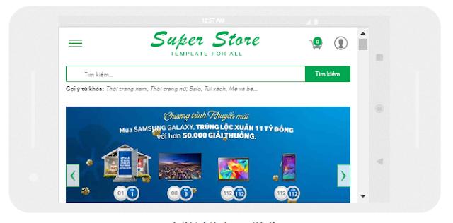 Template blogspot bán hàng Super Store Responsive trên di động dọc