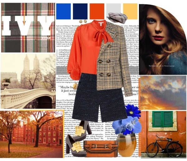 Ivy Leagues style outfit with navy shorts, orange shirt and plaid blazer