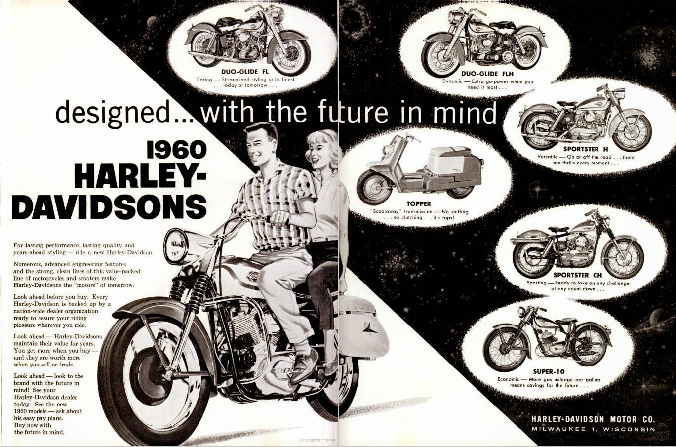Harley Davidson Advertising: Racing Cafè: Vintage Brochures: Harley-Davidson Range 1960