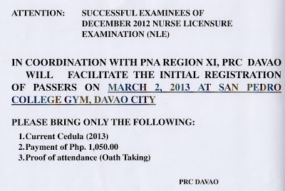 PRC Davao announced registration for December 2012 NLE Passers