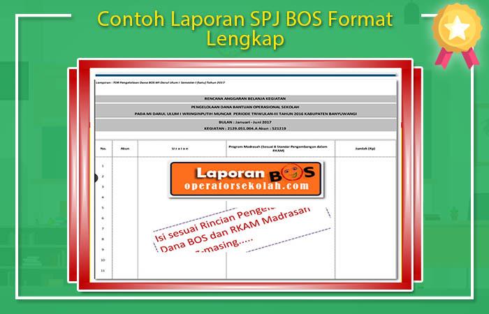 Contoh Laporan SPJ BOS Format Lengkap