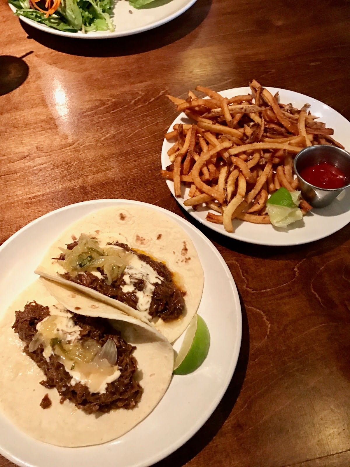 brazed tacos with fries