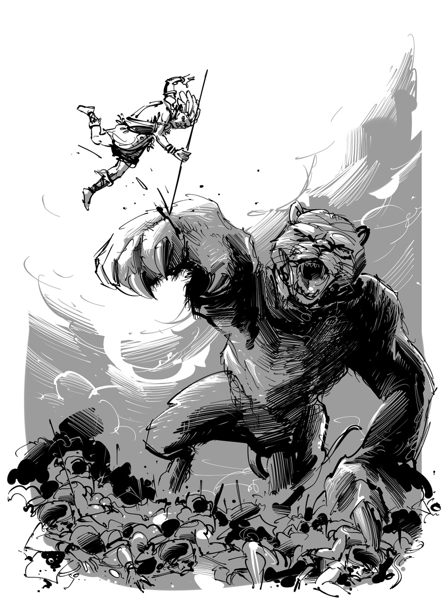 science fantasy novel illustration battle with giant tiger