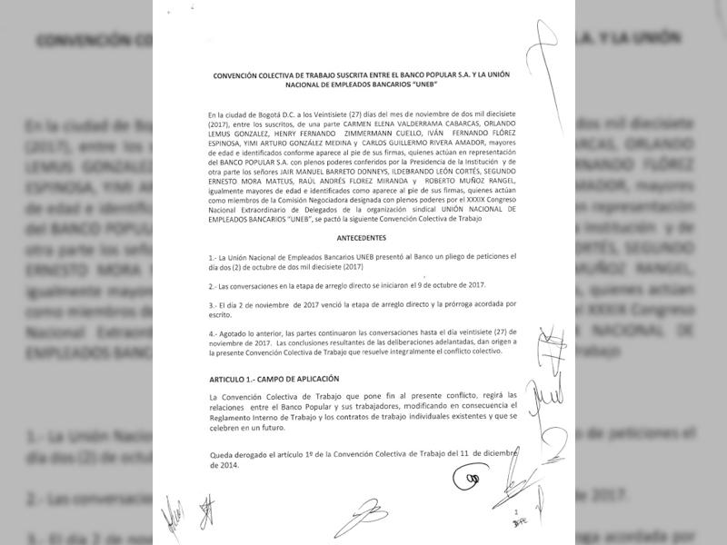 Convención colectiva de trabajo suscrita entre el Banco Popular y la UNEB.