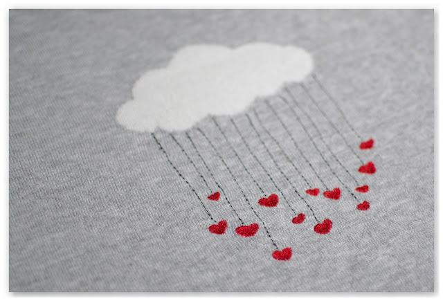 pull kookaï gris motif nuage et cœurs