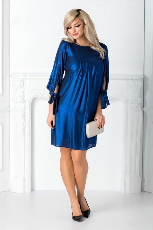 Rochie eleganta de ocazii moderna albastru metalizat