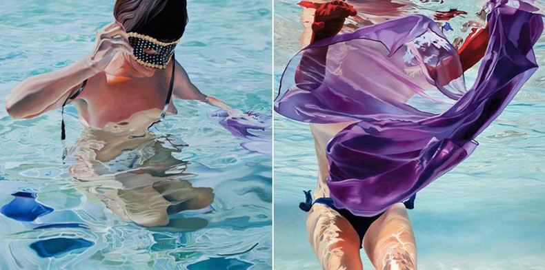 Pinturas al óleo de mujeres bañándose