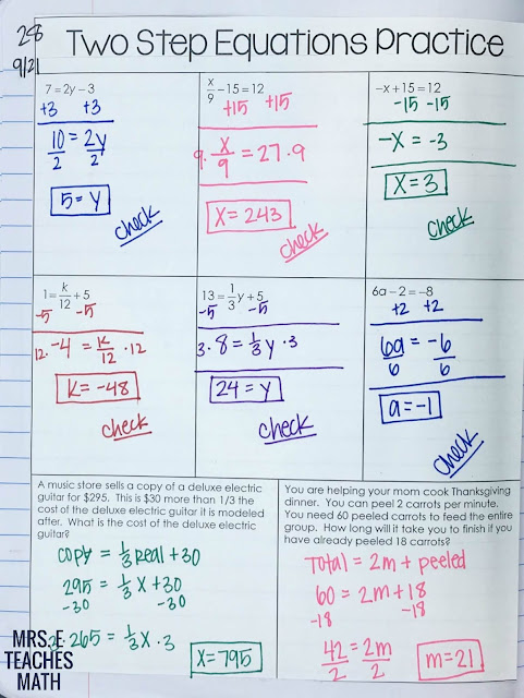 Two-Step Equations Practice for algebra interactive notebooks