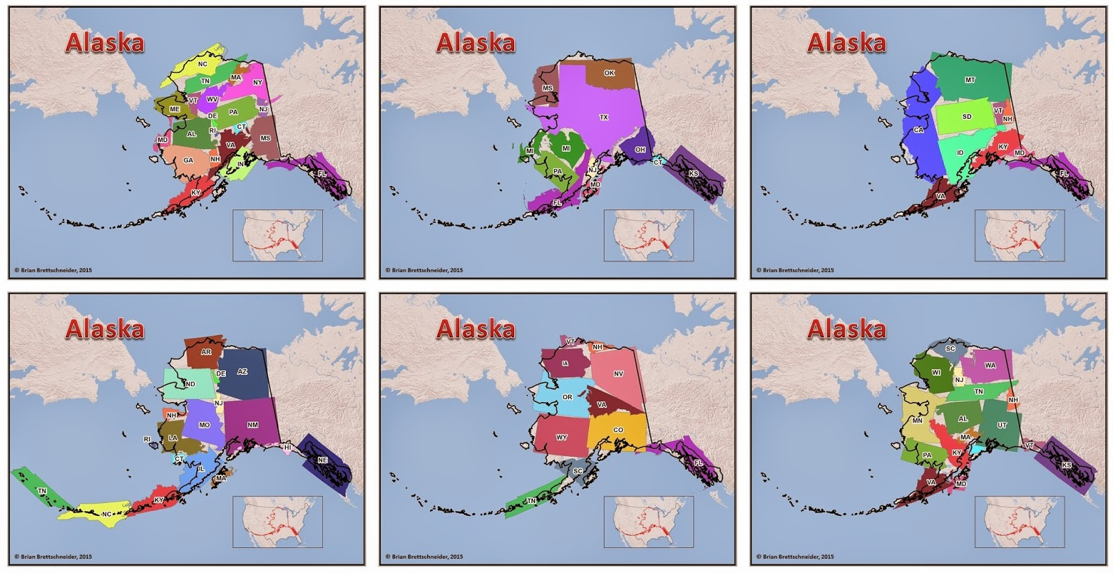 The size of Alaska compared to various other US states combined