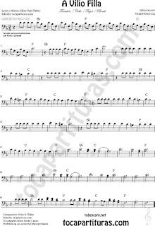 Partituras de Chelo, Fagot, Trombón, Tuba Elicón y Bombardino... en Clave de Fa Partitura de A Vilio Filla Bass Clef Sheet Music for Trombone, Tube, Euphonium, Cello, Bassoon