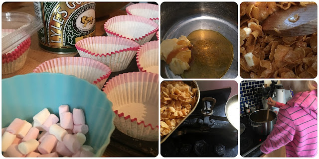 cooking with children - marshmallow and golden syrup cornflake cakes