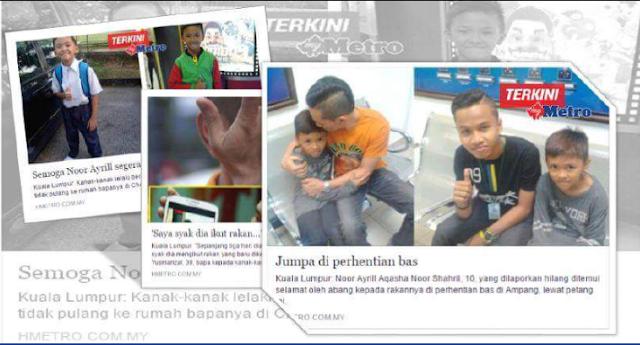 Tidur Diperhentian Bas,Restoran Selama Dia Hilang,ok?: Budak yang hilang sejak 31 Oktober lalu,